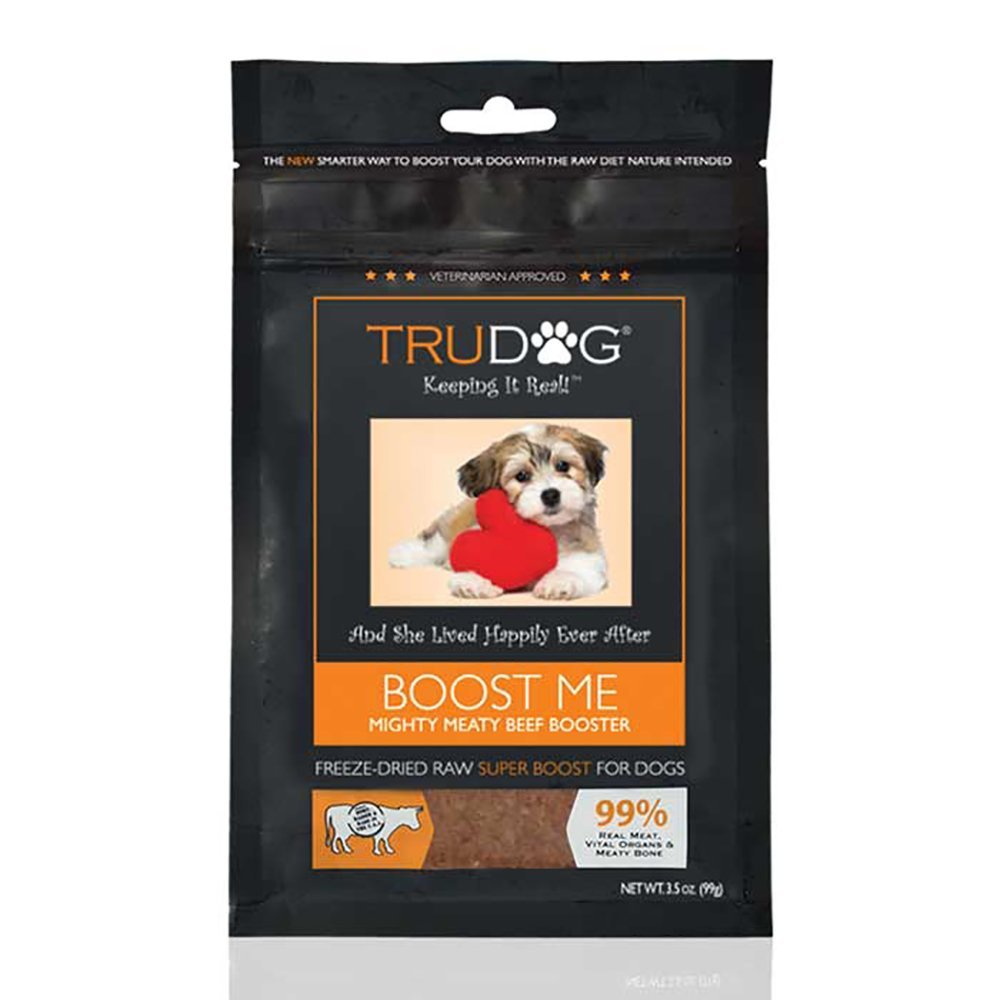 All Natural Dog Food Enhancer - Boost Me: Mighty Meaty Beef Booster (3.5oz) Freeze-Dried Raw Superfood Supplement - Easy to Mix and Enhances The Nutritional Value of Current Dry or Wet Dog Food by TruDog