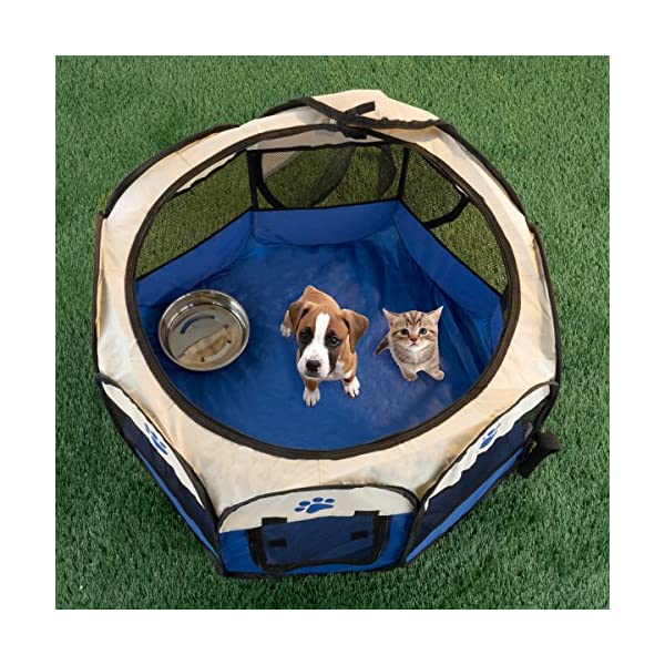 PETMAKER 80-PET6081 Pop-Up Pet Playpen with Carrying Case, Blue