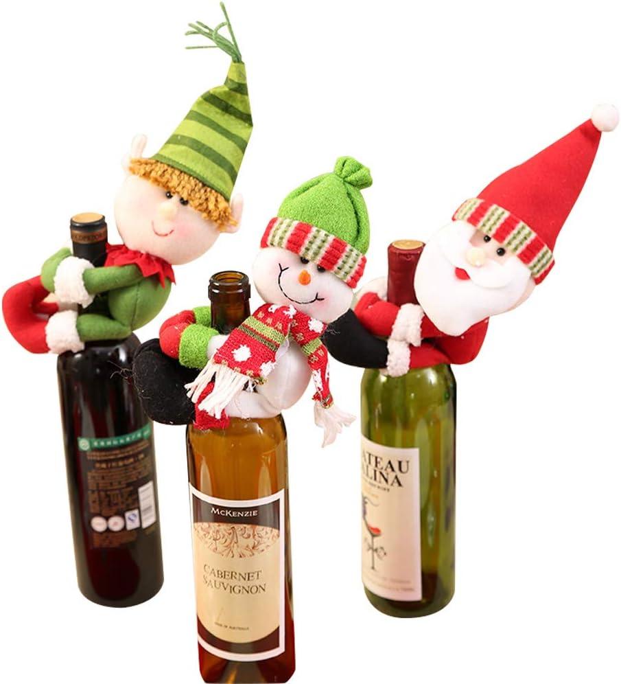 Gudotra 3pcs Bolsa de Vino de Navidad, Santa Claus Botella de Vino ...