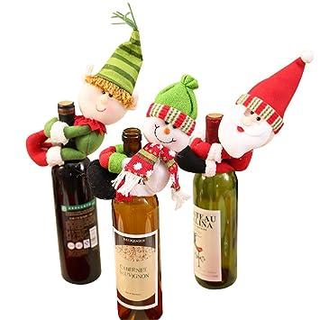 Gudotra 3pcs Bolsa de Vino de Navidad, Santa Claus Botella de Vino Cubierta Bolsas Conjunto