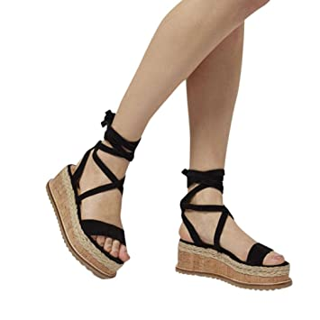 a4dfdf07b90f Fiaya Women s Roman Shoes Platform Ankle Tie Up Shoes Braided Thick-Bottom  Waterproof Gladiator Wedge