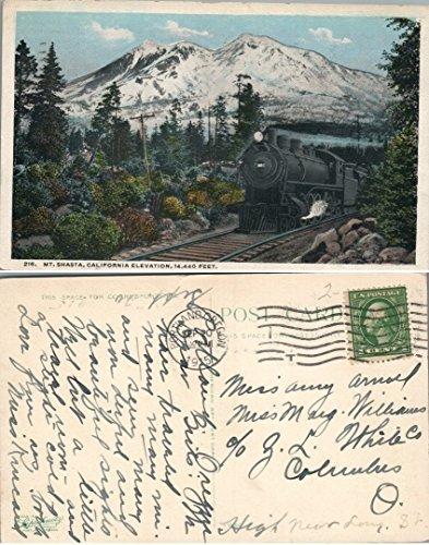 - MT.SHASTA CALIFORNIA ELEVATION ANTIQUE 1915 POSTCARD railroad railway train