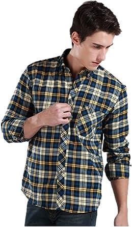 KingField - Camisa de manga larga para hombre, diseño de cuadros