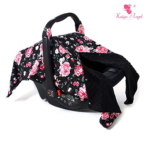 Kaiya Angel Baby Car Seat Cover . Fits All Infant Car Seats . Cotton Cool/ Warm Weather Car Seat Cover (Black hot pink)