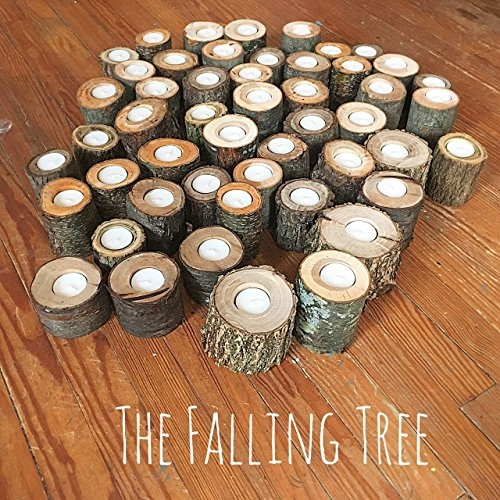 50 Real Log Tea light candle holders in Various Sizes, Perfect for Rustic Wedding centerpieces, graduation parties and more ()