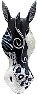 Abstract Black/White Zebra African Safari Wall Mask Africa Decor 12 Inches High