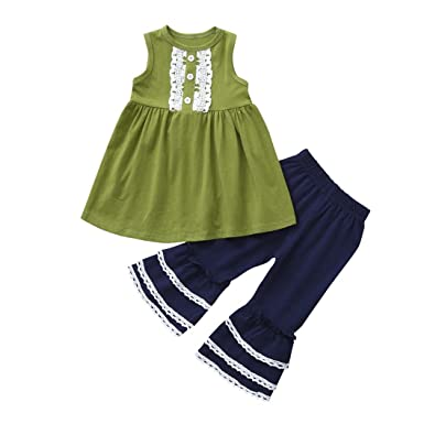 c55cb911983a sunnymi 2Pcs Toddler Baby Girls Tops T-Shirt +Pants Sleeveless Lace ...