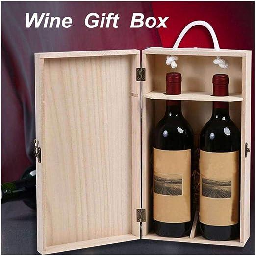 huichang - Caja de Botellas de Vino de Madera, 2 Unidades, 35 x 20 ...
