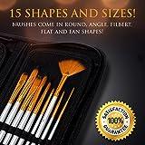 Artist-Paint-Brush-Set–15-Different-Brush-Shapes-Sizes–Bonus-FREE-Painting-Knife-Watercolor-Sponge–No-Shed-Bristles–Wood-Handles–For-Body-Paint-Acrylics-Oil