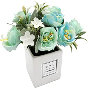 Artificial Flowers Fake Flowers Artificial Silk Rose Flower with Square Small Vases for Wedding Home Office Party Kitchen Christmas Centerpieces Bathroom Desk Decorations Gift (Blue)