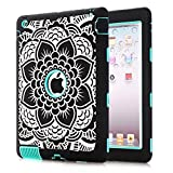 iPad 4 Case, iPad 3 Case,iPad 2 Case - MAKEIT 3in1 Hybrid Shockproof Case For iPad 2 3 4 (Flowers-Light Green)