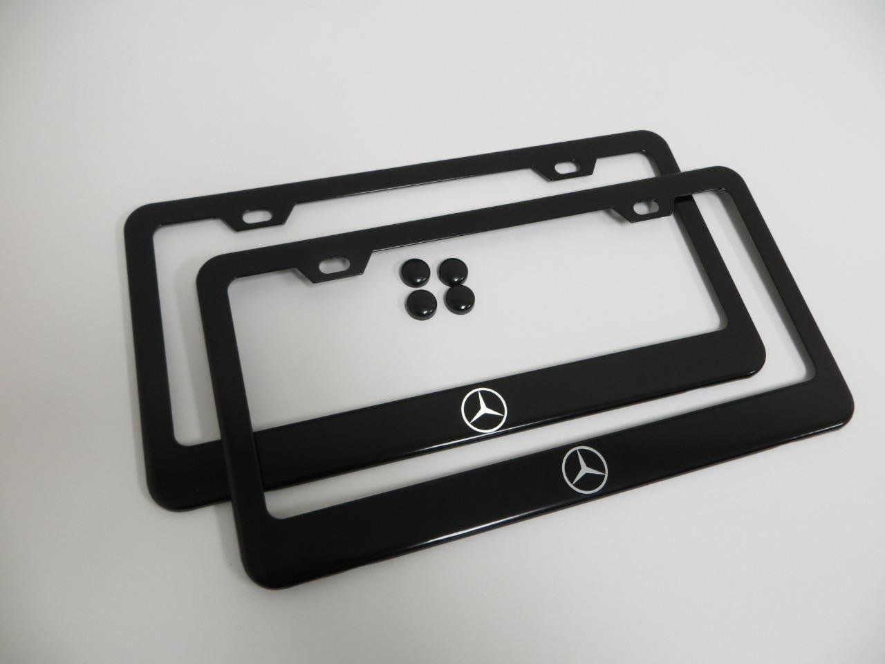 2 Pieces Mercedes-Benz Logo Black Metal License Plate Frame with Screw Cap Covers Deepro International Company Limited