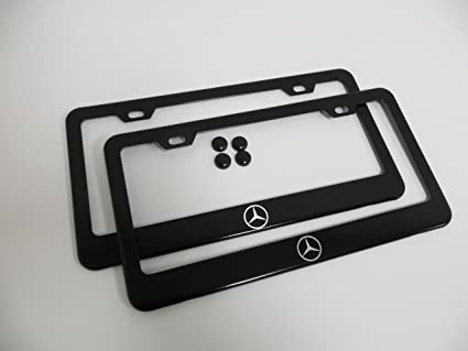 Delightful 2 Pieces Mercedes Benz Logo Black Metal License Plate Frame With Screw Cap  Covers