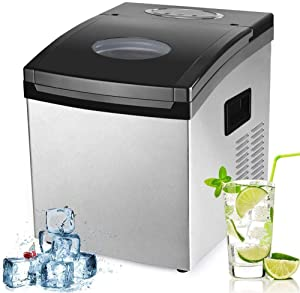 CZZ11 Automaticwaterinlet Ice Maker Machine, 1.5L Counter Top Ice Machine, 2 Size Ice Cube in 12-20 Mins, 10-15kg Ice in 24 H, LCD Display No Plumbing Required Great for Home Kitchen Bar