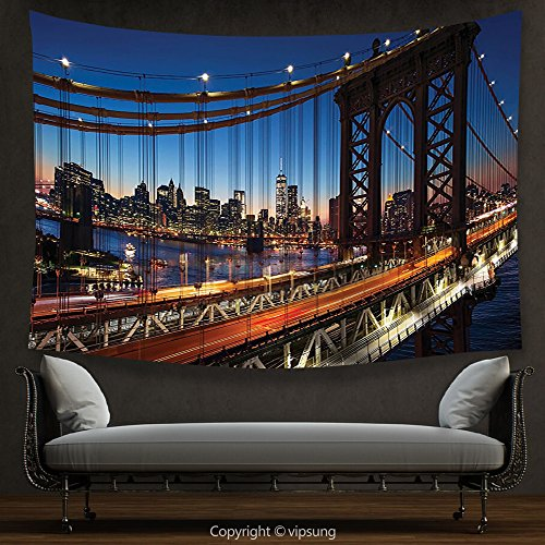 House Decor Tapestry NYC Decor Collection Sunset At Brooklyn Bridge River Large Modern Famous Tourism Touristic Attractions Navy Brown Yellow Wall Hanging for Bedroom Living Room (Halloween Parade Brooklyn)