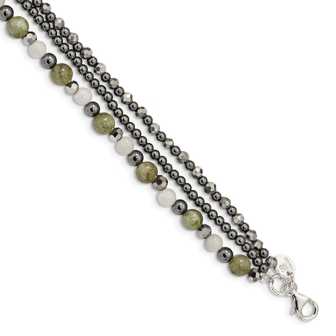 ICE CARATS 925 Sterling Silver Crystal/hematite/white Jade/labradorite 3 Strand 1 Inch Extension Bracelet 7.5 Gemstone Fine Jewelry Ideal Gifts For Women Gift Set From Heart