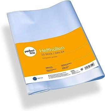 perfect line 25 Heft-Hüllen A5 Umschläge transparent genarbt Schoner mit Einband