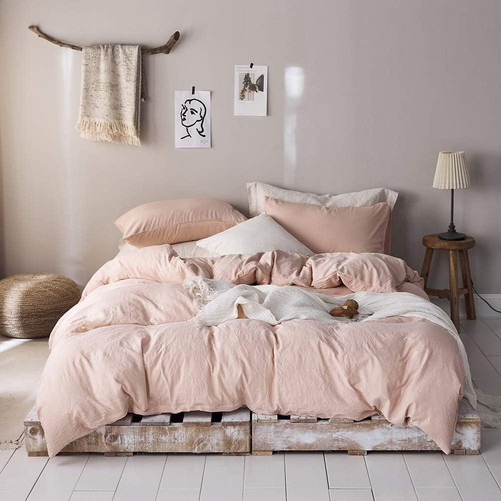 100% Washed Microfiber Duvet Cover Blush Pink Bedding Sets Queen Blush Comforter Set Queen Size Hotel Bedding Queen Modern Style Comforter Cover Lightweight Durable Full Size Duvet Cover Pink