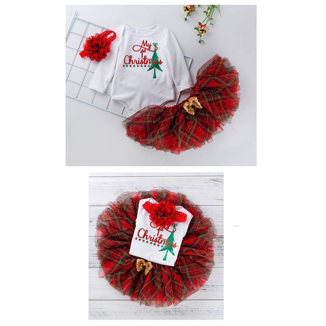 mama stadt 3 St/ück Baby M/ädchen Weihnachten Kleidung Party Langarm Weihnachts Outfits Baumwolle Strampler T/üllrock Stirnband Weihnachtskost/üm