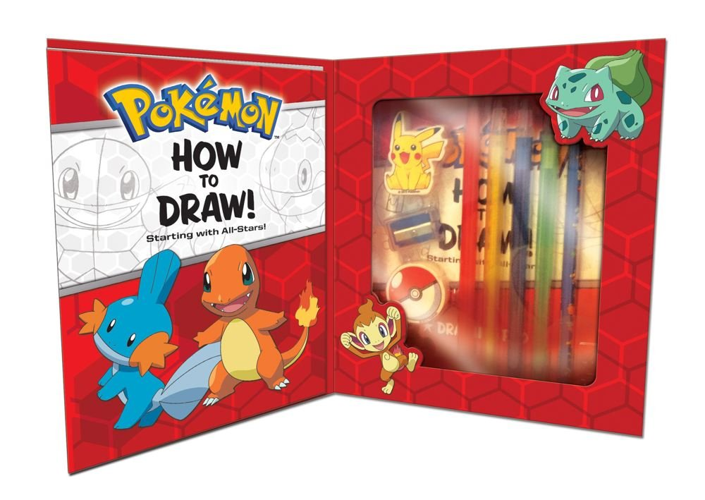 Amazon com pokemon how to draw kit starting with all stars 9781604381689 pikachu press books