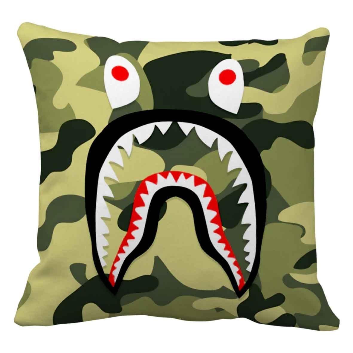 Hl Hlppc Bape Shark Green Camo Polyester Pillow Cover Size 16 X 16 Inches Buy Online In Grenada At Grenada Desertcart Com Productid 41060572