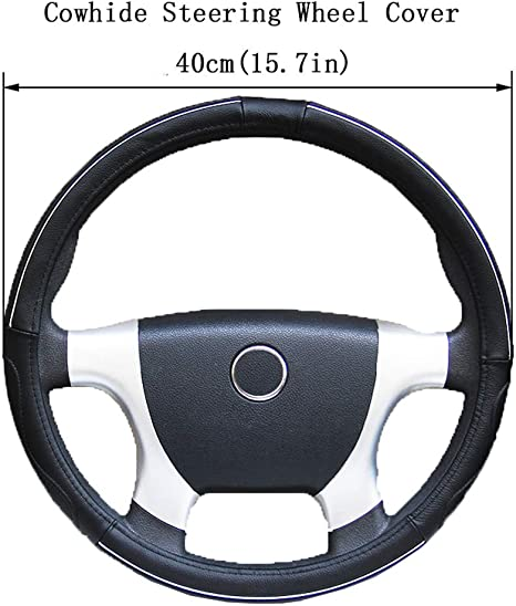 Amazon Com Cowhide Car Steering Wheel Cover Truck Auto Automobile Vehicle Automotive Truck Steering Wheel Cover For Scania R P And S Serie Black 40cm Home Kitchen
