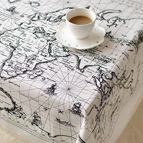CJ Fashion Map Printed Lace Table Cloth Square Christmas ...