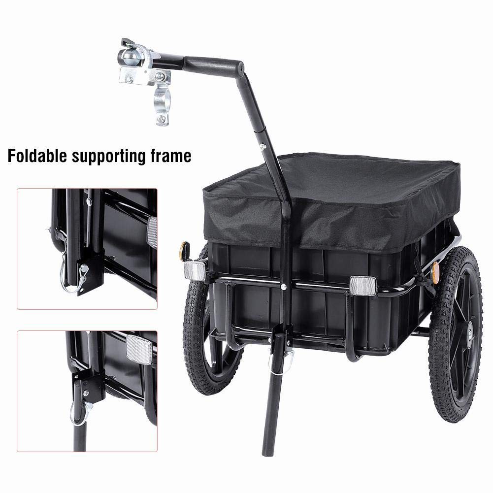 Transport Bike Cart Maximum Load Capacity 70 kg 70 L Bicycle Trailer High Traction Trolley with Handle and Tarpaulin