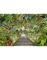 Komar Fotobehang 3D-8-977, Jungle-Bridge behang, regenwoud wanddecoratie, jungle, tropic rainforest brug, groen, 368 x 254 cm, 8 delen