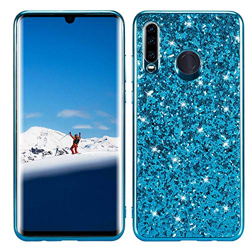 Lite Glitter Blue - DAMONDY for Huawei P30 Lite Case,Glitter Shiny Bling Diamond Bumper Slim Flexible Soft Gel TPU Women Girls Protective Phone Case Cover for Huawei P30 Lite-Blue