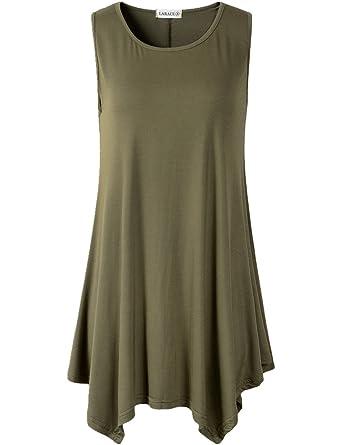 c205124d04b689 LARACE Lanmo Women Plus Size Solid Basic Flowy Tank Tops Summer Sleeveless  Tunic(S