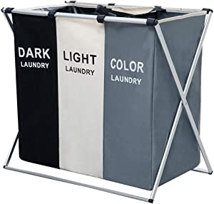 MONICOO 145L Laundry Cloth Hamper Sorter Basket Bin Foldable 3 Sections with Aluminum Frame 26''×24''H Washing Storage Dirty Clothes Bag for Bathroom Bedroom (3 Liner)