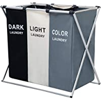 """AosKe 3-Section Laundry Basket or Dirty Laundry sorter Made of Tianjin Waterproof Bag and Aluminum Frame (24.5"""" X 15"""" X 23"""") Foldable & Detachable."""