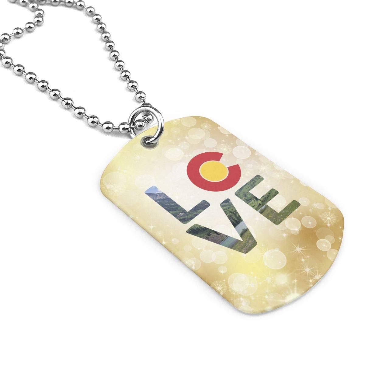 Military Necklace Love Colorado Custom Zinc Alloy Pendant Necklace Dog Tags