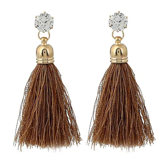 Earrings Women Girl Fashion Rhinestone Long Tassel Dangle Earrings Fringe Drop Earrings* Crafts