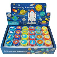 Tiny Mills 24 Pcs Outer Space Stampers for Kids Party Favor Goodie Bag Stuffers Pinata Fillers Classroom Rewards…