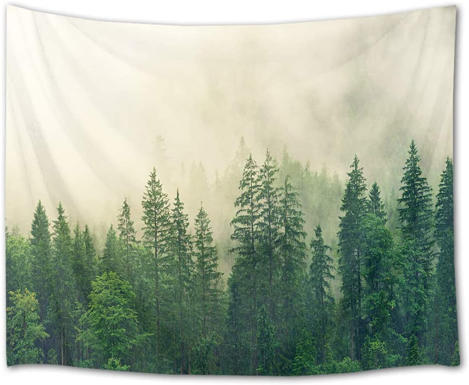 HVEST Forest Tapestry Green Trees with Fog in Mountain Wall Hanging Nature Tapestries for Bedroom Living Room Dorm Party Wall Decor,92.5Wx70.9H inches