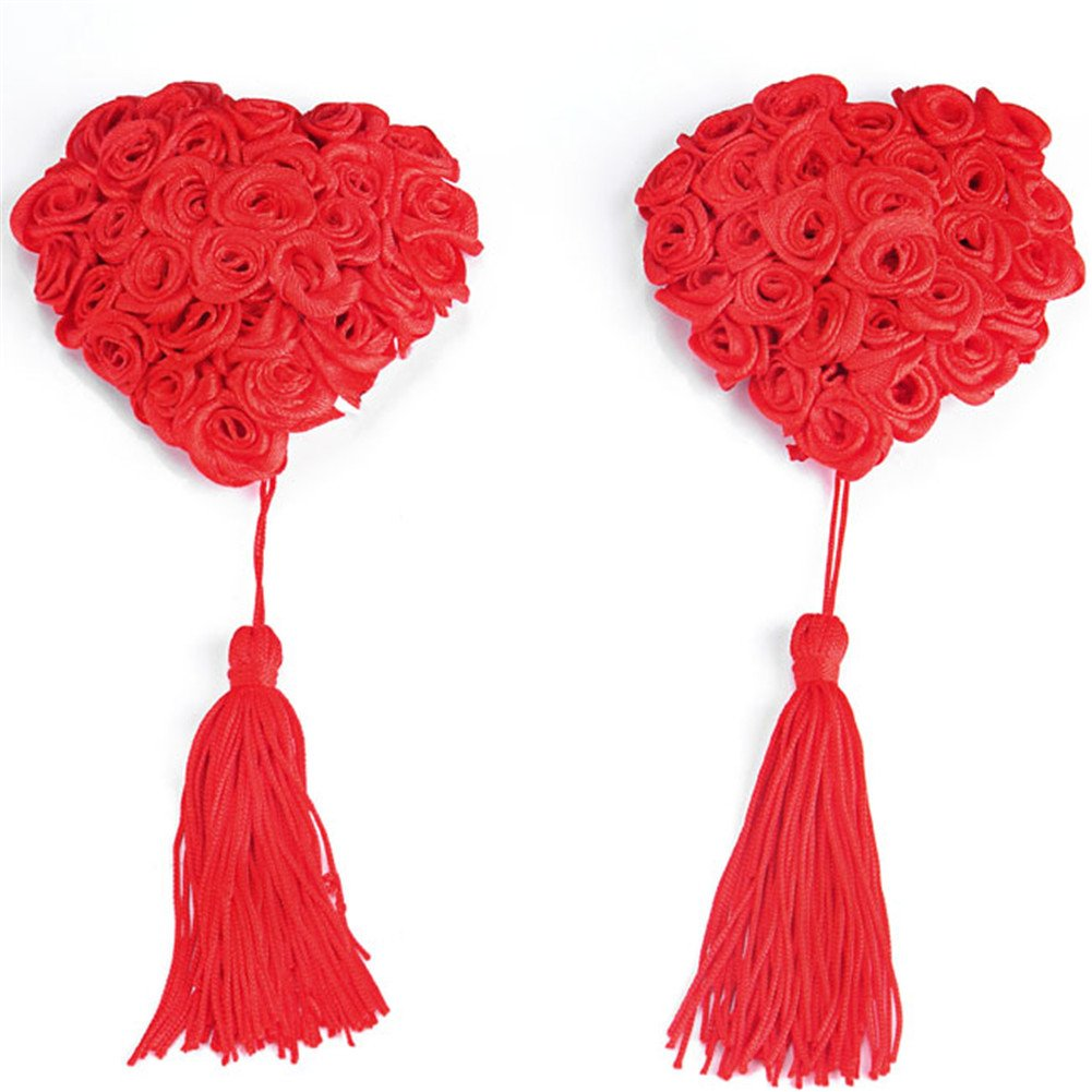 b388bf40dd065 Ayliss 2pcs Reusable Women Sexy Nipple Cover Heart Shape Rose Tassel Pasties
