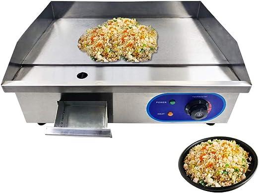 SISHUINIANHUA Comercial de Acero Inoxidable Todas Las planchas Planas eléctricas para Cocina casera BBQ Sartenes para el hogar Sartén, EU: Amazon.es