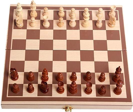 Kanqingqing Tablero de ajedrez LifeChamp portátil Juegos de ajedrez for niños y Adultos con Grandes Juego de Mesa de Madera Plegable y almacenaje for la Madera Hechos a Mano Piezas de ajedrez: