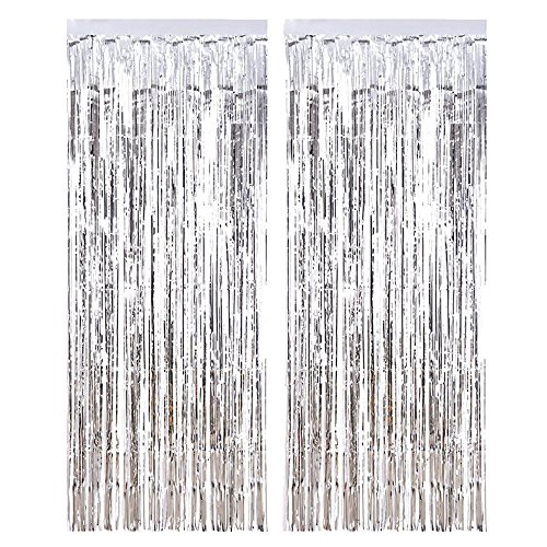 (2 Pack Metallic Tinsel Curtains Curtains Shimmer Curtain Door Window Decoration for Birthday Wedding Party Christmas Decorations)