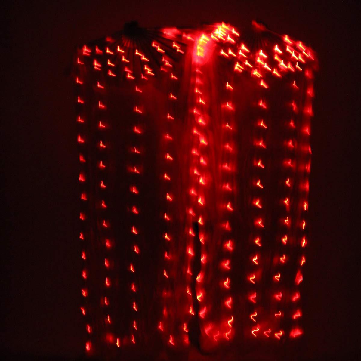 Misi ChaoベリーダンスLEDファンベール – 1.8 Long竹ファンベールHand Madeシルクファンダンス/アウトドア B07HMV5G21  レッド