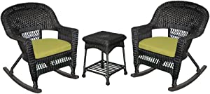 Jeco 3 Piece Rocker Wicker Chair Set With With Green Cushion, Black
