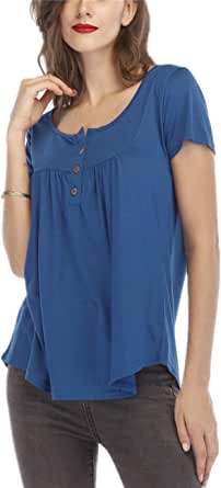 Women's Short Sleeve Casual Tunic Loose Fit Tops Henley Shirt Pleated Button up Blouses Comfy Basic T