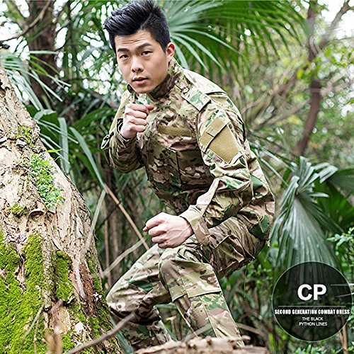 4f1bc30e ZAPT Combat Gen3 Tactical Uniform Men Military Shirt and Pants with Knee  Elbow Pads for Airsoft Paintball BDU Camouflage Apparel (Black, XL)