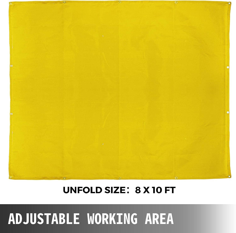 VEVOR Welding Blanket 8 x 10 FT Fiberglass Blanket Heavy-Duty Fire Retardant Blanket For Easy Hanging and Protection from Sparks /& Splatters