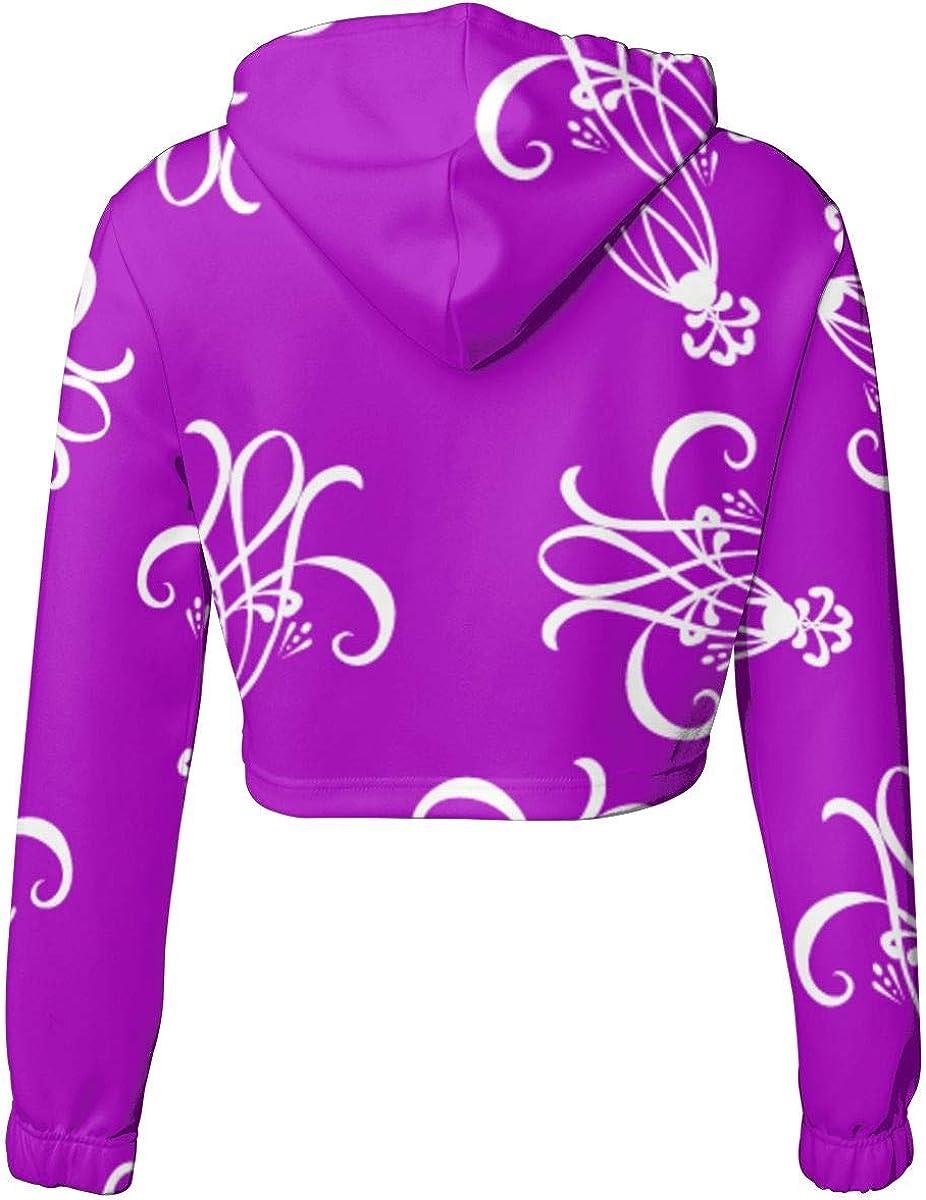 Kawaii Long Sleeve Sports Tops Womens Purple Crop Tops Pullover Sweatshirt
