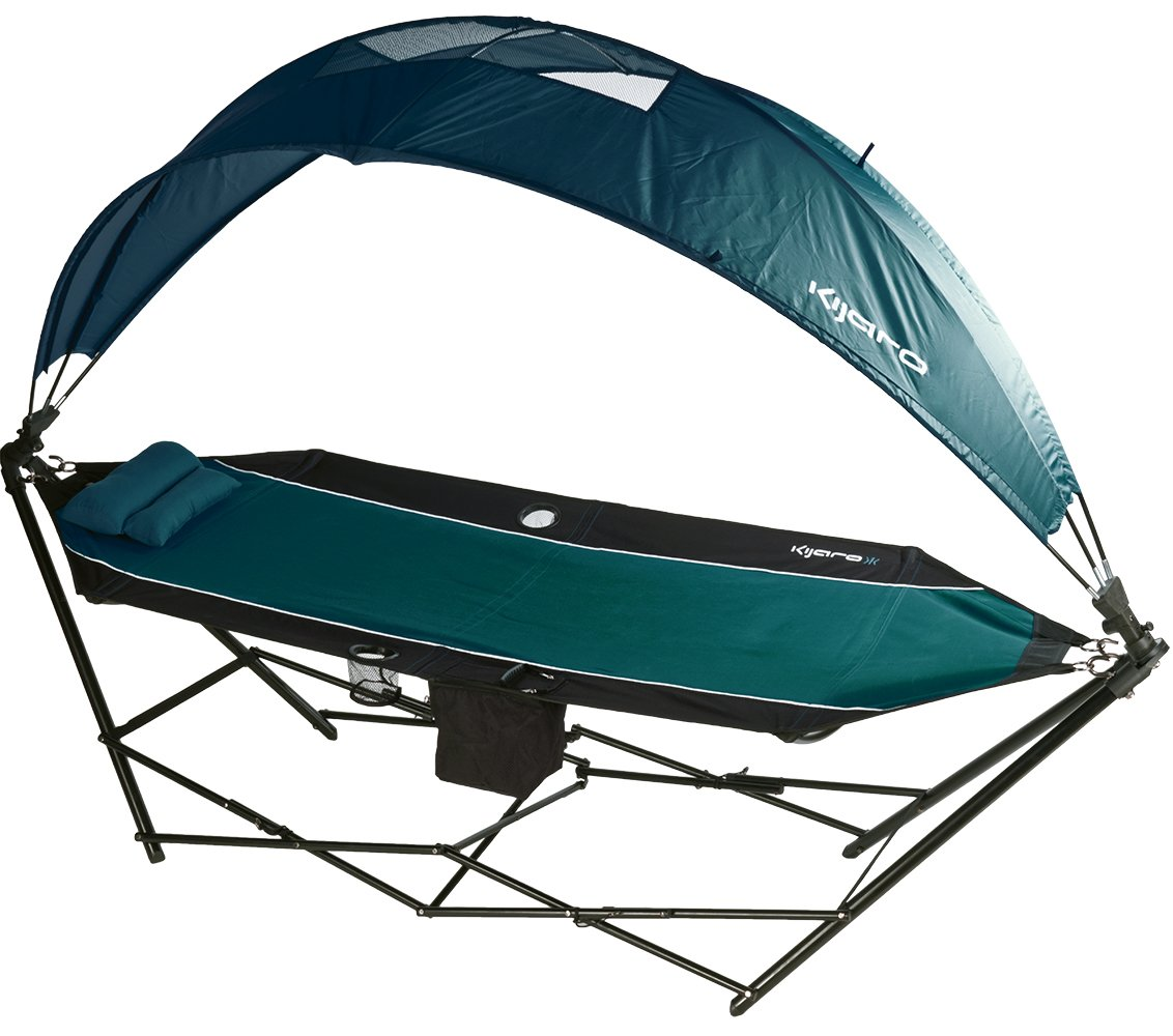 head the portable kijaro with canopy hammock shade cooler and green