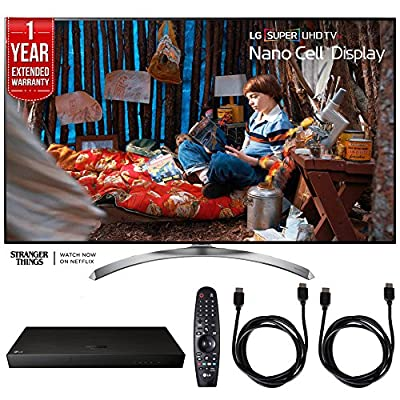 LG 65SJ8500 Super UHD 4K HDR Smart LED TV (2017 Model) w/ Blu-ray Player Bundle Includes, LG (UP970) 4K Ultra-HD Blu-ray Player w/ Multi HDR, 1 Year Extended Warranty & 2x 6ft. HDMI Cable