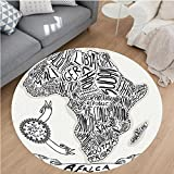 Nalahome Modern Flannel Microfiber Non-Slip Machine Washable Round Area Rug-or Illustration of a Vintage Africa Map with Hand Written Letters Print Coconut and Black area rugs Home Decor-Round 67''